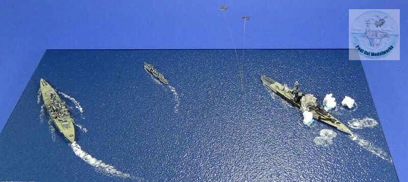 The Prince of Wales (extreme left) executing a high speed turn to starboard